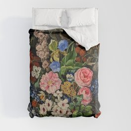 Parrot Tulips, Roses, Dahlias, Zinnia & Fig Bouquet  (Flowers of the Imagination) by Rachel Ruysch Comforters