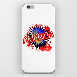 America Red White And Blue Cartoon Exclamation iPhone Skin
