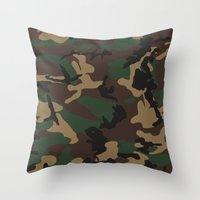camo Throw Pillows featuring Camo by TheSmallCollective