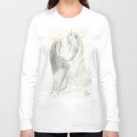 otters Long Sleeve T-shirts featuring Playful Otters  by Jennifer Golla Art