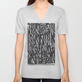 A urban city photograph of wall and a graffiti in Arab style Unisex V-Neck