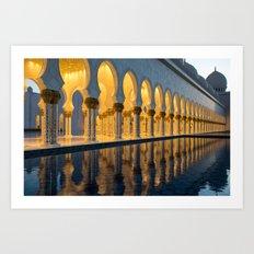 Sheikh Zayed Mosque at night Art Print