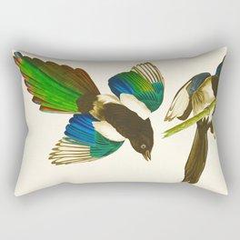 Magpie Vintage Scientific Bird Illustration Rectangular Pillow