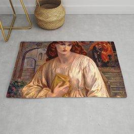 "Dante Gabriel Rossetti ""Salutation of Beatrice"" Rug"
