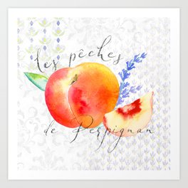 Les Pêches de Perpignan—Peaches from Provence Art Print