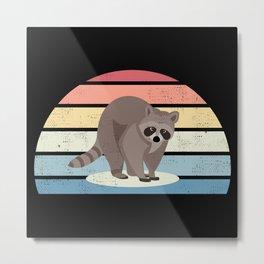 Sunset Racoon Trash panda Raccoon Gift Metal Print