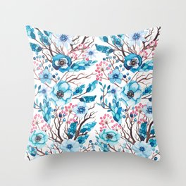 Hand painted blue pink brown watercolor floral berries Throw Pillow