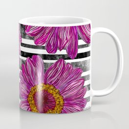 Pink Ink Flowers on Black & White Stripes Coffee Mug