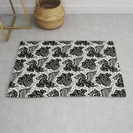 Pegasus Pattern Black and White Rug