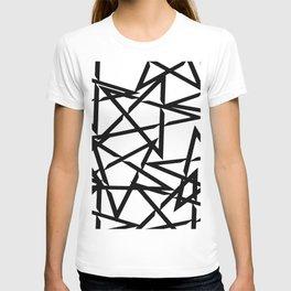Interlocking Black Star Polygon Shape Design T-shirt