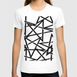 Interlocking Black Star Polygon Shape Design T-shirt