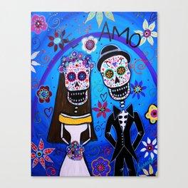 Dia de los Muertos Special Wedding Calavera Painting Canvas Print