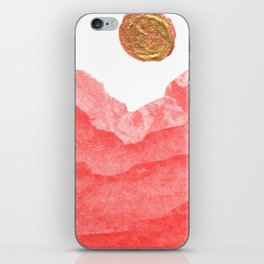 Red watercolor abstract mountains and moon iPhone Skin