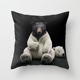 Black bear wearing polar bear costume Throw Pillow