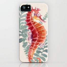 Red Sea Horse Watercolor iPhone Case