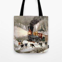 Snow Bound: Vintage Currier & Ives Railroad Scene Tote Bag