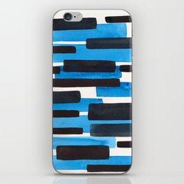 Deep Blue Primitive Stripes Mid Century Modern Minimalist Watercolor Gouache Painting Colorful Strip iPhone Skin
