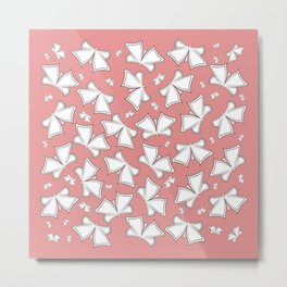 The pattern of butterflies. White butterflies on a pink background. Metal Print