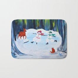 Christmas Night with dancing snowmen Bath Mat