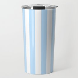 Classic Seersucker Stripes in Blue + White Travel Mug