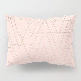modern rose gold geometric thin triangles blush pink abstract pattern Pillow Sham