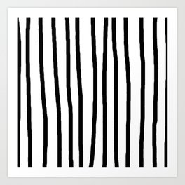 Simply Drawn Vertical Stripes in Midnight Black Art Print