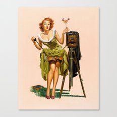 Vintage Camera Pinup girl  Canvas Print