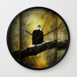 Bald Eagle on Snow Covered branch ~ Ginkelmier Inspired Wall Clock