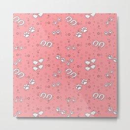 Cute Pink Cute Baby Animal Tracks Pattern Design Metal Print