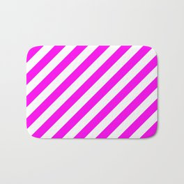 Diagonal Stripes (Magenta & White Pattern) Bath Mat