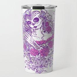 Sexy Woman zombie WITH Flower -  Carla - Vivid Violet - Lavender Travel Mug