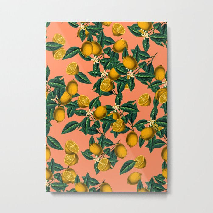 Lemon and Leaf Metal Print