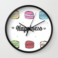 macaroons Wall Clocks featuring Macaroons by AshleyRose