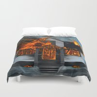 house Duvet Covers featuring House on Fire by FAMOUS WHEN DEAD