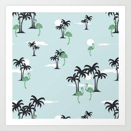 Full Moon Oasis (green) Art Print