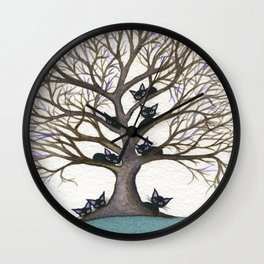 Hackensack Whimsical Cats in Tree Wall Clock