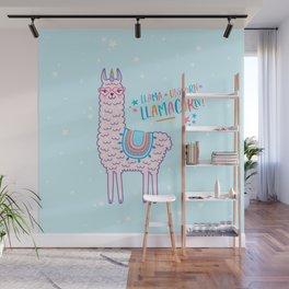 llama unicorn llamacorn pink lama alpaca funny cute gift Wall Mural