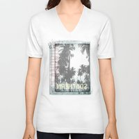 tropical V-neck T-shirts featuring tropical by ulas okuyucu