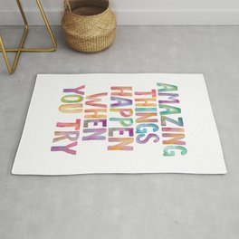 AMAZING THINGS HAPPEN WHEN YOU TRY rainbow watercolor Rug