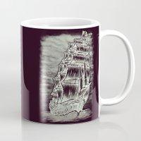 pirate ship Mugs featuring Caleuche Ghost Pirate Ship Variant by Roberto Jaras Lira