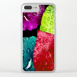 Colorful Leaves & Water Drops Abstract Clear iPhone Case