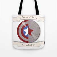 steve rogers Tote Bags featuring Steve Rogers and Bucky Barnes Shield by Mallory Anne