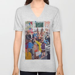 The colourful Assassination of Donald Trump in New York City Unisex V-Neck