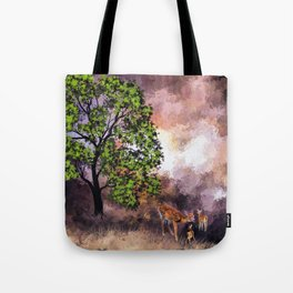 The Deer at the Tree (Color) Tote Bag