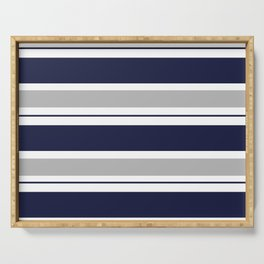 Navy Blue and Grey Stripe Serving Tray