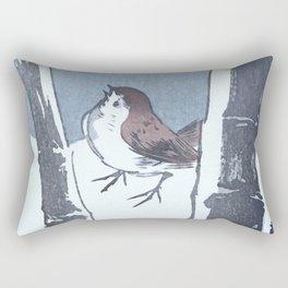 Sparrow and the Bamboo Tree - Vintage Japanese Woodblock Print Art Rectangular Pillow