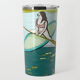 surfing girl beach resort art Travel Mug