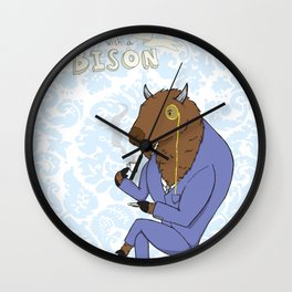 Tea Time with a Bison Wall Clock