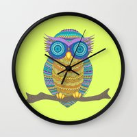 henna Wall Clocks featuring Henna Owl by haleyivers