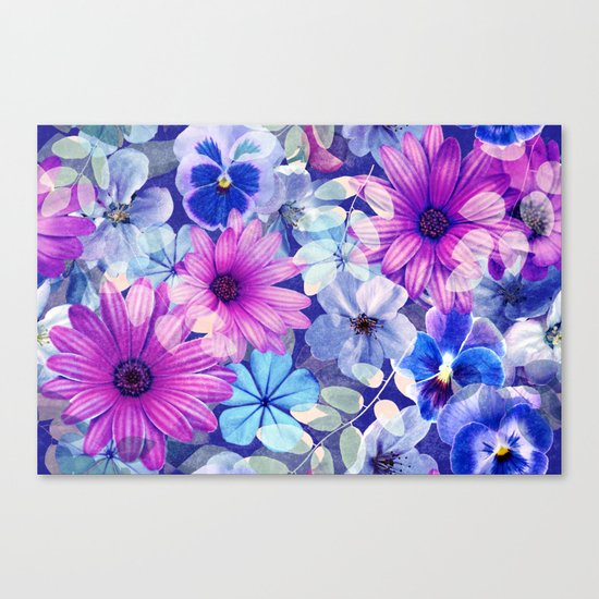 Dark pink and blue floral pattern Canvas Print